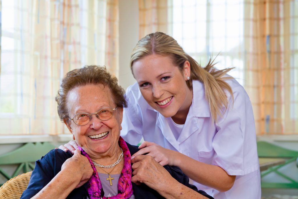 Hauskrankenpflege der alten Dame