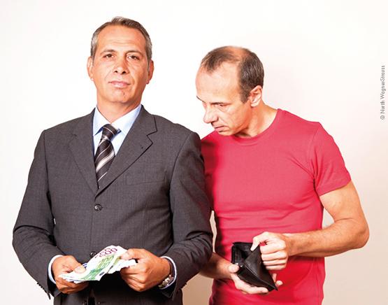 Vermögen vermehrt sich rasant, während von einer Gehaltserhöhung kaum noch etwas übrig bleibt. (Bild: Nurith Wagner-Strauss)