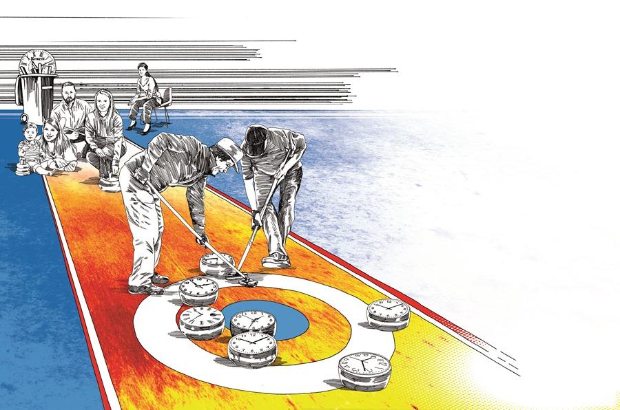 Eine Gleitzeitvereinbarung ohne Kernzeit ist möglich und für die Arbeitnehmerinnen sehr vorteilhaft. Illustration: Peter M. Hoffmann