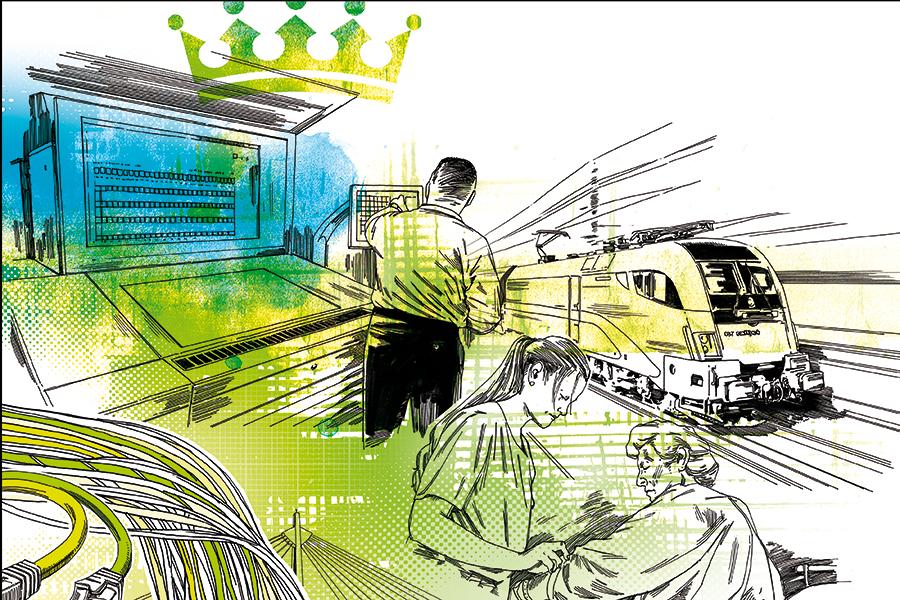 Hohe staatliche Investitionen in den Wirtschaftsstandort gewährleisten eine funktionierende Infrastruktur und schaffen Freiraum für Innovationen. Illustration: Peter M. Hoffmann.