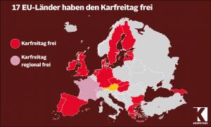 In 17 EU-Ländern wird am Karfreitag nicht gearbeitet.